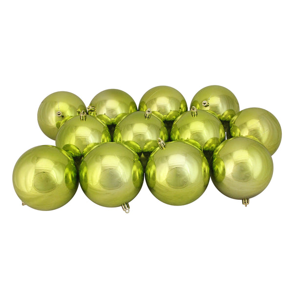 "12ct Shiny Kiwi Green Shatterproof Christmas Ball Ornaments 4"" (100mm)"