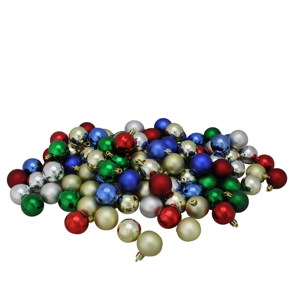 "96ct Vibrantly Colored Shatterproof 4-Finish Christmas Ball Ornaments 1.5"" (40mm)"