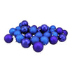 "32ct Royal Blue Shatterproof 4-Finish Christmas Ball Ornaments 3.25"" (80mm)"