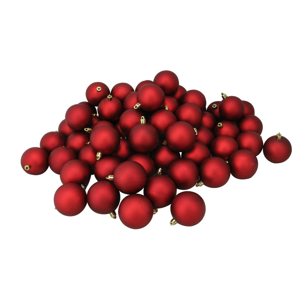"60ct Red Shatterproof Matte Christmas Ball Ornaments 2.5"" (60mm)"
