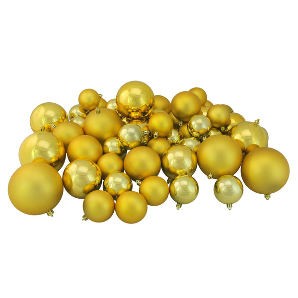 "50ct Vegas Gold Shatterproof 2-Finish Christmas Ball Ornaments 4"" (100mm)"