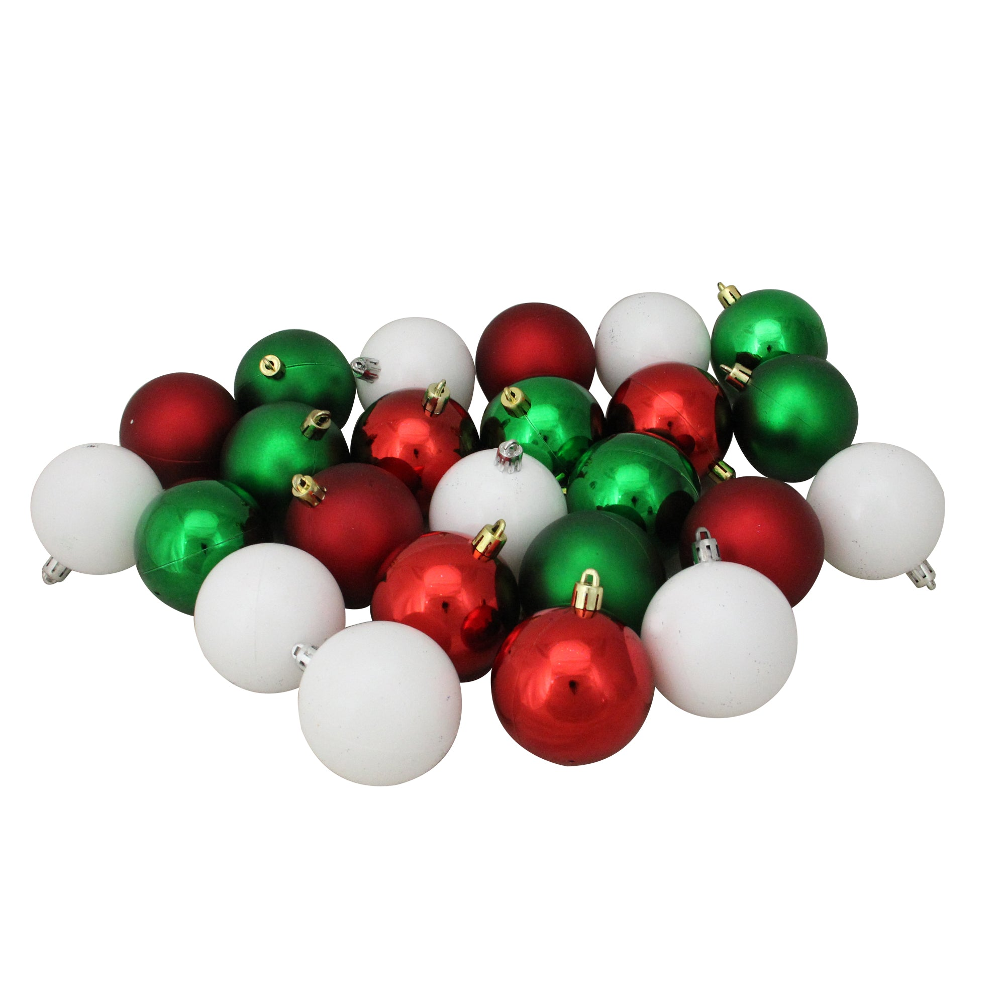 Red Christmas Ball Ornaments.24ct Red And Green Shatterproof 2 Finish Christmas Ball Ornaments 2 5