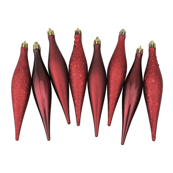 "8ct Burgundy Red Shatterproof 4-Finish Christmas Finial Drop Ornaments 6"" (152mm)"