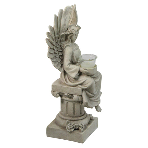 "17"" Peaceful Angel Sitting on a Pedastal Candle Holder Statue"