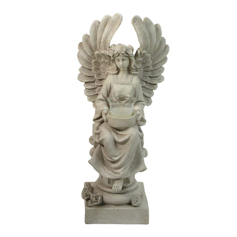 "17"" Peaceful Angel Sitting on a Pedestal Candle Holder Statue"