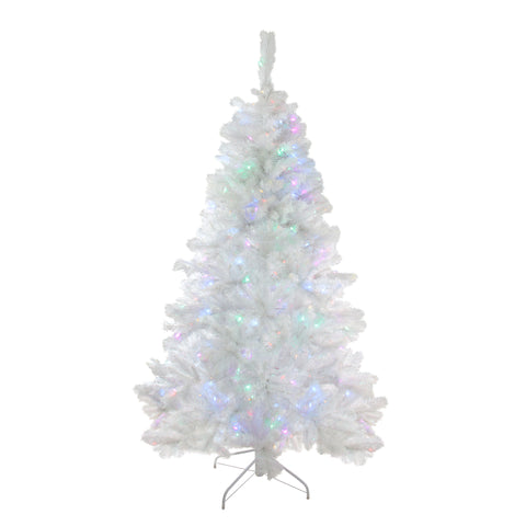 6.5' Pre-Lit Single Plug Medium White Iridescent Pine Artificial Christmas Tree - Multi-Function LED Lights