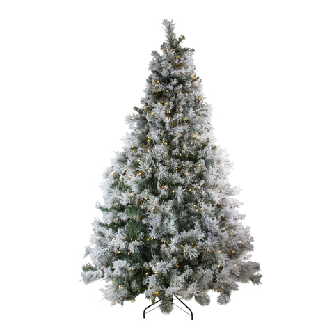 7.5' Pre-Lit Single Plug Flocked Victoria Pine Artificial Christmas Tree - Multi-Function LED Lights