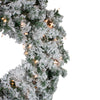 Pre-Lit Flocked Victoria Pine Artificial Christmas Wreath - 30-Inch, Clear Lights