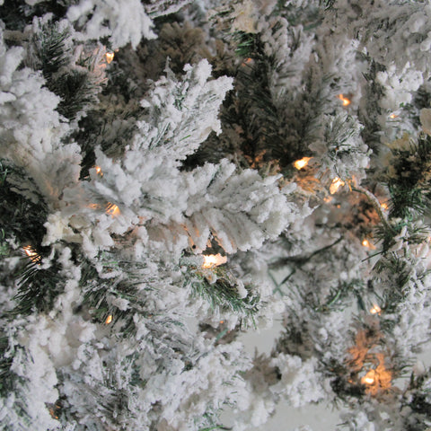 12' Pre-Lit Heavily Flocked Pine Medium Artificial Christmas Tree - Clear Lights