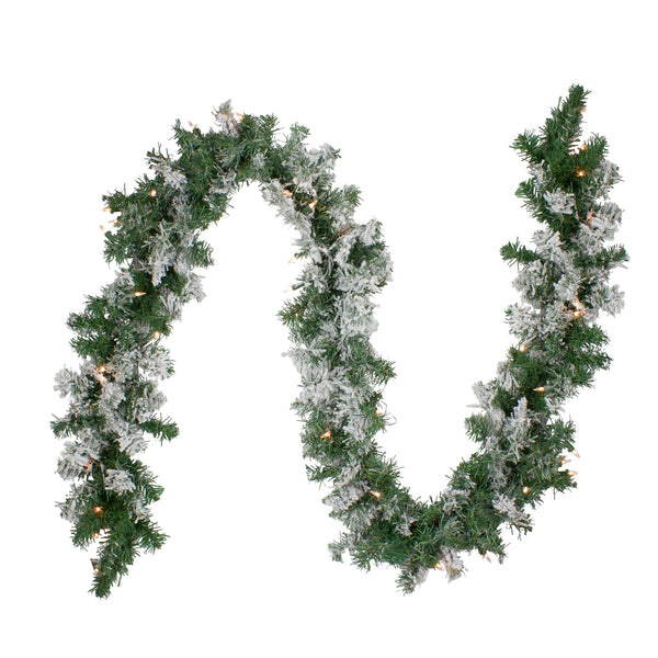 "9' x 10"" Pre-lit Heavily Flocked Pine Artificial Christmas Garland - Clear Lights"