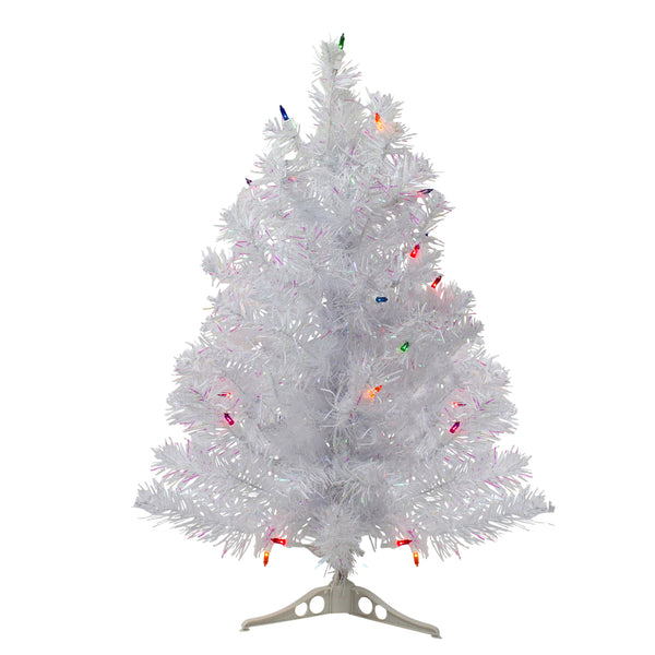 2' Pre-Lit Medium White Iridescent Pine Artificial Christmas Tree - Multicolor Lights