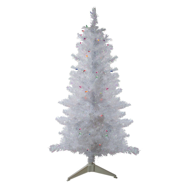 4' Pre-lit White Iridescent Pine Artificial Christmas Tree - Multi Lights