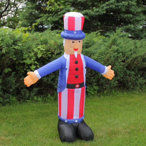 Inflatable White and Red Lighted Standing Uncle Sam Outdoor Decor, 70-Inch