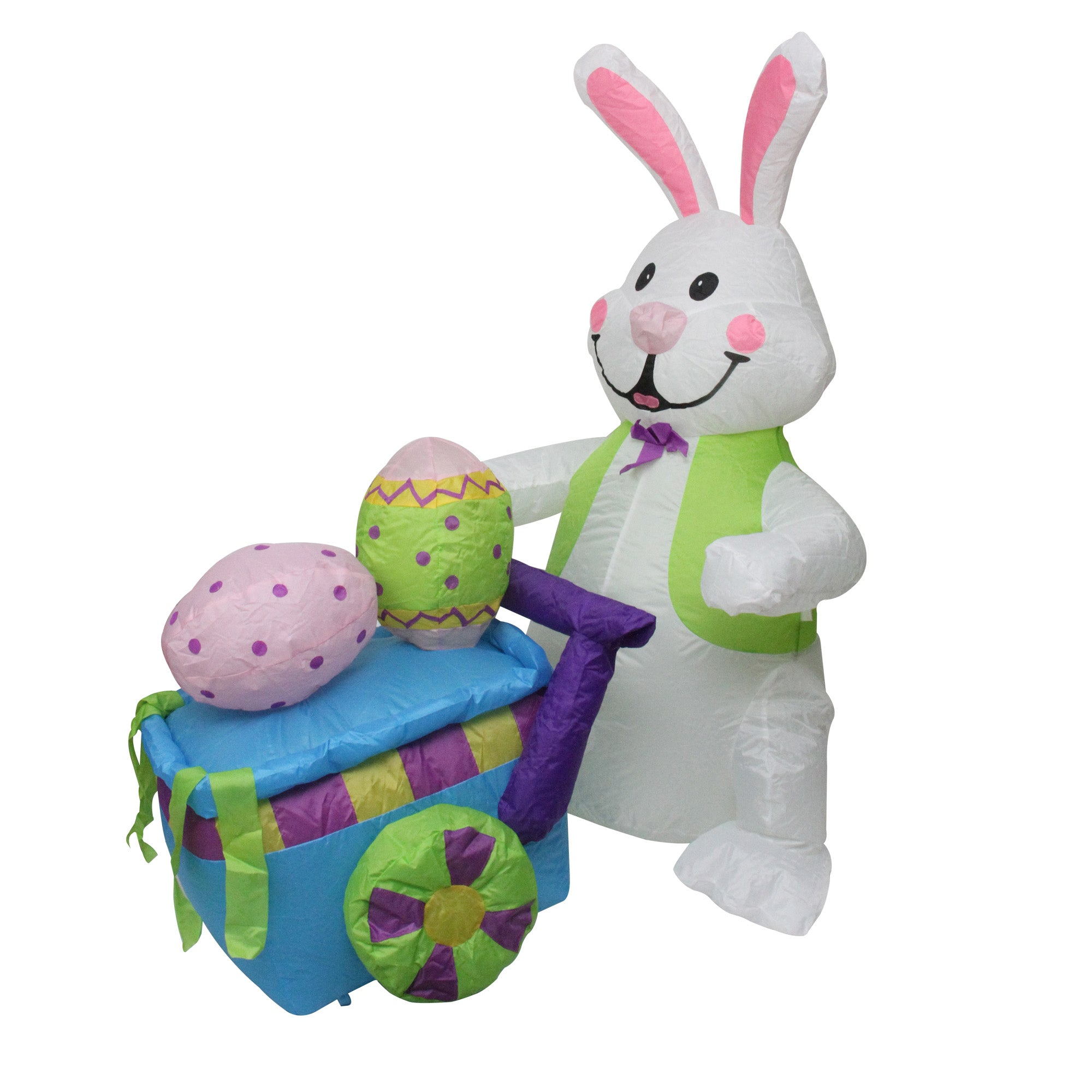 4 Inflatable Lighted Easter Bunny With Push Cart Outdoor Decoration
