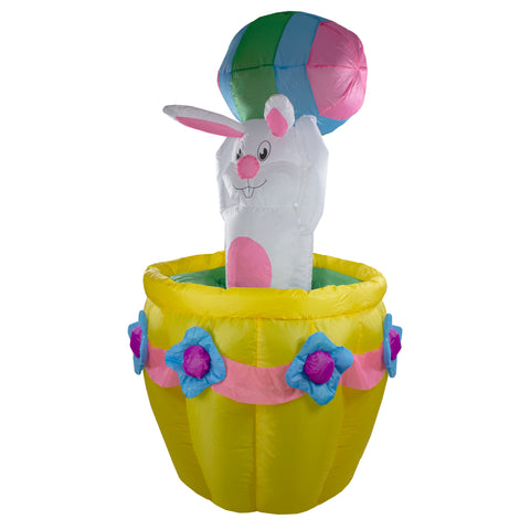 10' Pre-Lit Green and Yellow Inflatable Easter Bunny Basket Outdoor Decor