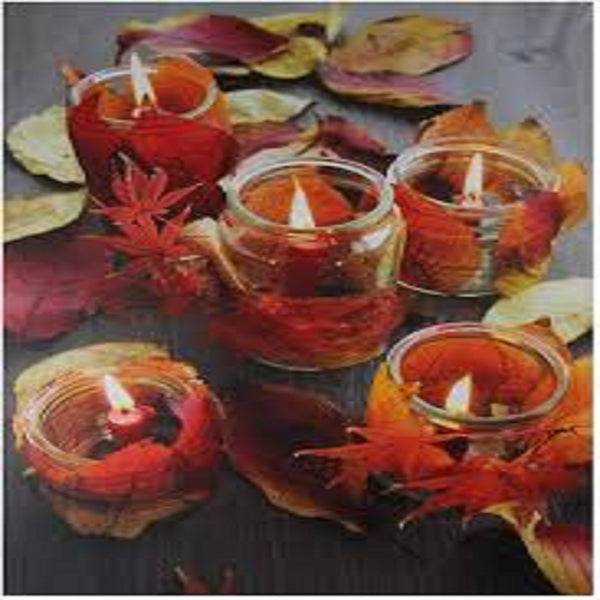 "LED Lighted Fall Candle with Berries Canvas Wall Art 23.5"" x 15.75"""