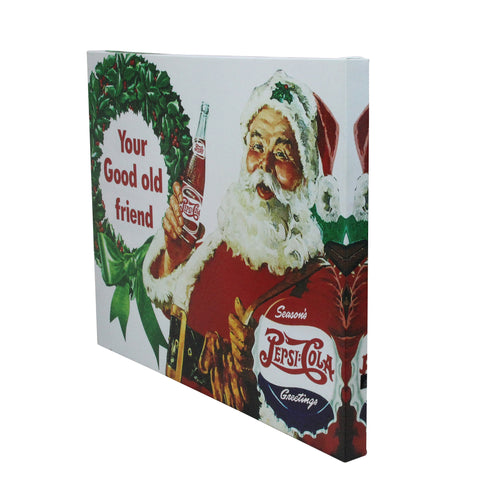 "15.75"" x 19.75"" Red and Green LED Back Lit Santa Claus Pepsi Christmas Wall Art"