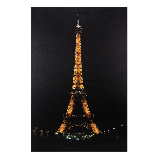 "23.5"" LED Lighted Famous Eiffel Tower Paris France at Night Canvas Wall Art"