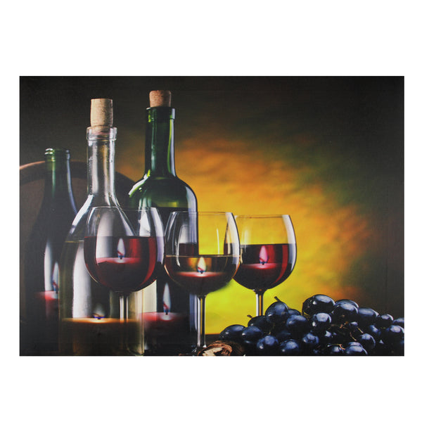 "15.75"" LED Lighted Flickering Wine, Grapes and Candles Canvas Wall Art 11.75"" x 15.75"""
