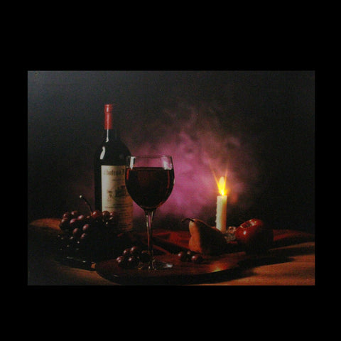 "LED Lighted Flickering Wine, Fruit and Candle Canvas Wall Art 11.75"" x 15.75"""