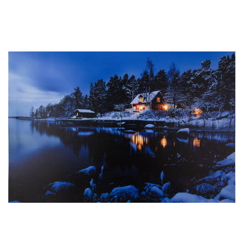 "23.75"" LED Lighted Rustic Lodge Cabin on the Lake Canvas Wall Art"