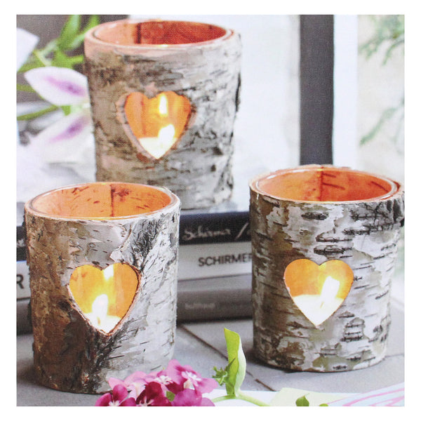 "12"" Gray and White LED Lighted Flickering Rustic Birch Candles Canvas Wall Art"