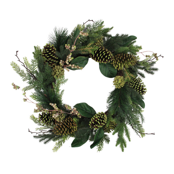 Berries and Pine Cone Artificial Christmas Wreath - 24-Inch, Unlit