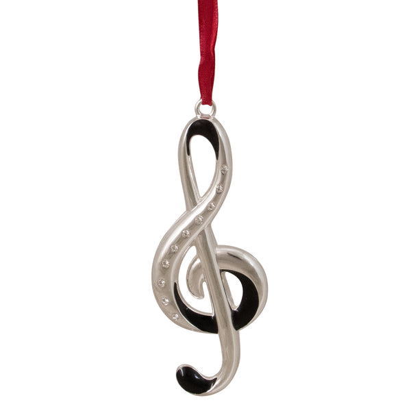 "4"" Silver and Red Clef Music Note European Crystals Christmas Ornament"
