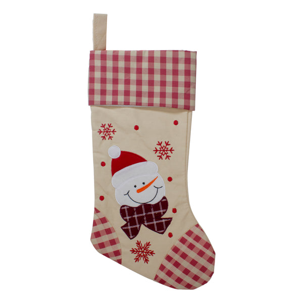 "17"" Red and Beige Burlap Embroidered Snowman Christmas Stocking with Red Gingham Cuff"
