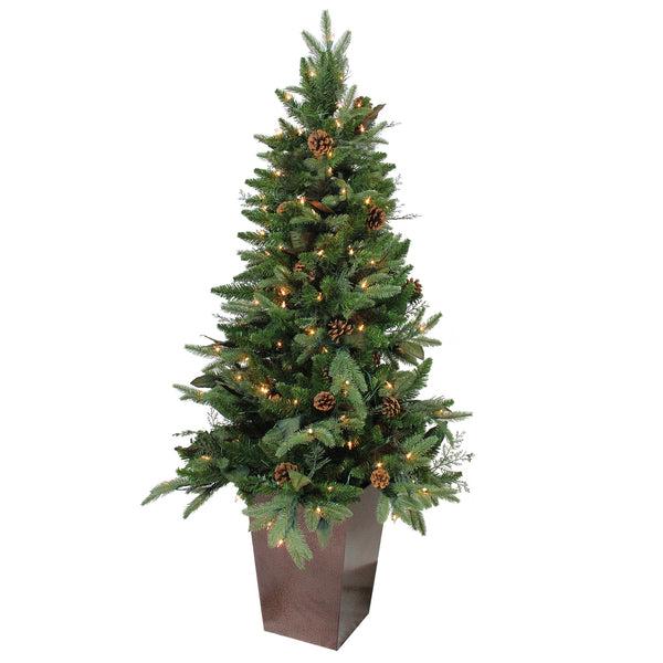 5' Pre-Lit Potted Mixed Winter Pine Medium Artificial Christmas Tree - Clear Lights