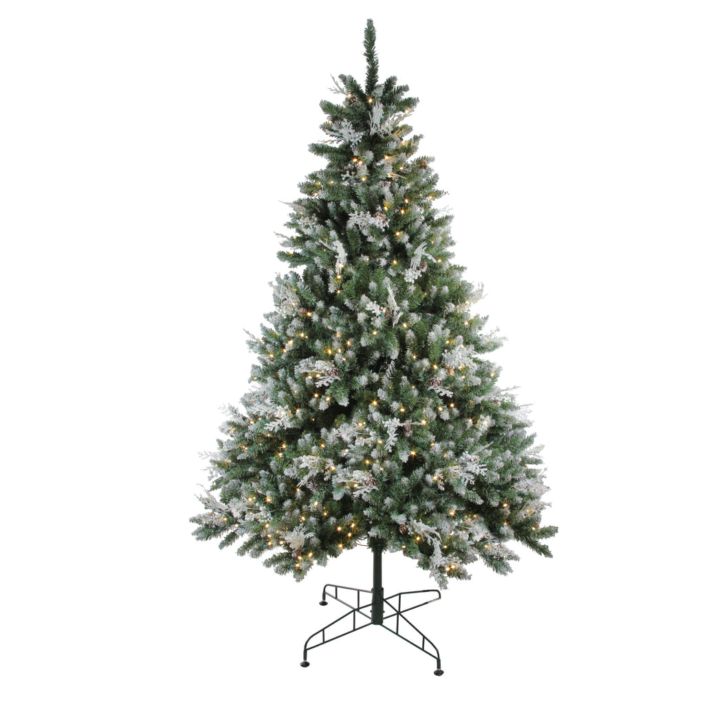 6 5 Pre Lit Frosted Sierra Fir Artificial Christmas Tree