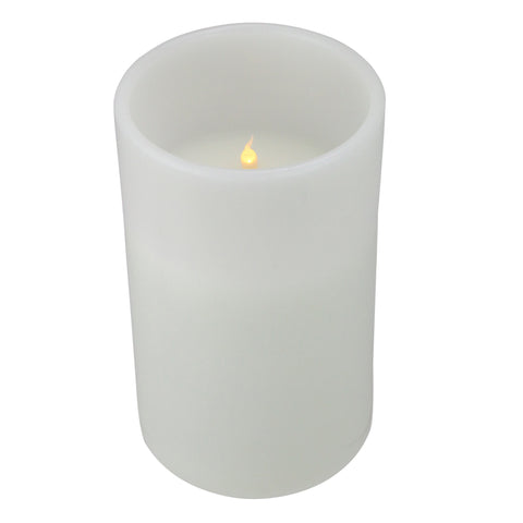 "12"" White Battery Operated Flameless LED Lighted 3-Wick Flickering Wax Christmas Pillar Candle"