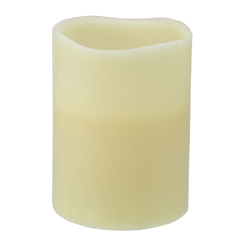 "8"" Ivory Battery Operated Flameless LED Lighted 3-Wick Flickering Wax Christmas Pillar Candle"