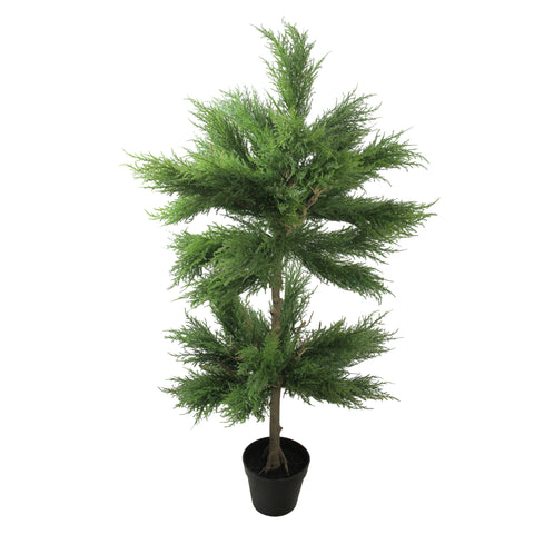 "44"" Potted Artificial Cypress Double Ball Topiary Tree"