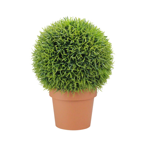 "18"" Potted Two-Tone Artificial Pine Ball Topiary Plant"