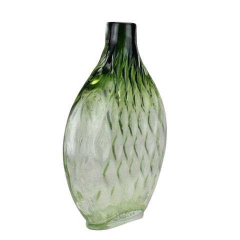 "11.5"" Disc Shaped Transparent Forest Green Ombre Hand Blown Glass Vase"