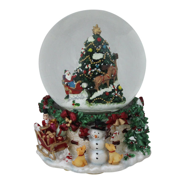 "6.75"" Christmas Tree and Santa Claus Musical Blowing Snow Globe Tabletop Decoration"