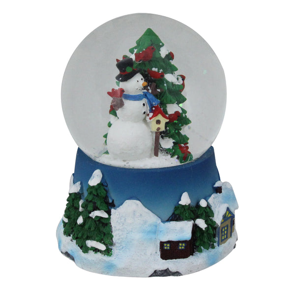 "5"" Musical Snowman, Red Cardinal and Christmas Tree Snow Globe Tabletop Decoration"