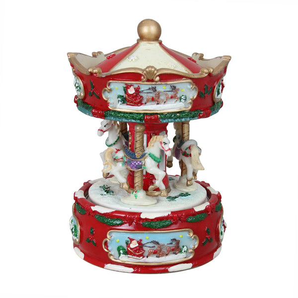 "6.5"" Red and White Animated Musical Carousel Christmas Music Box"