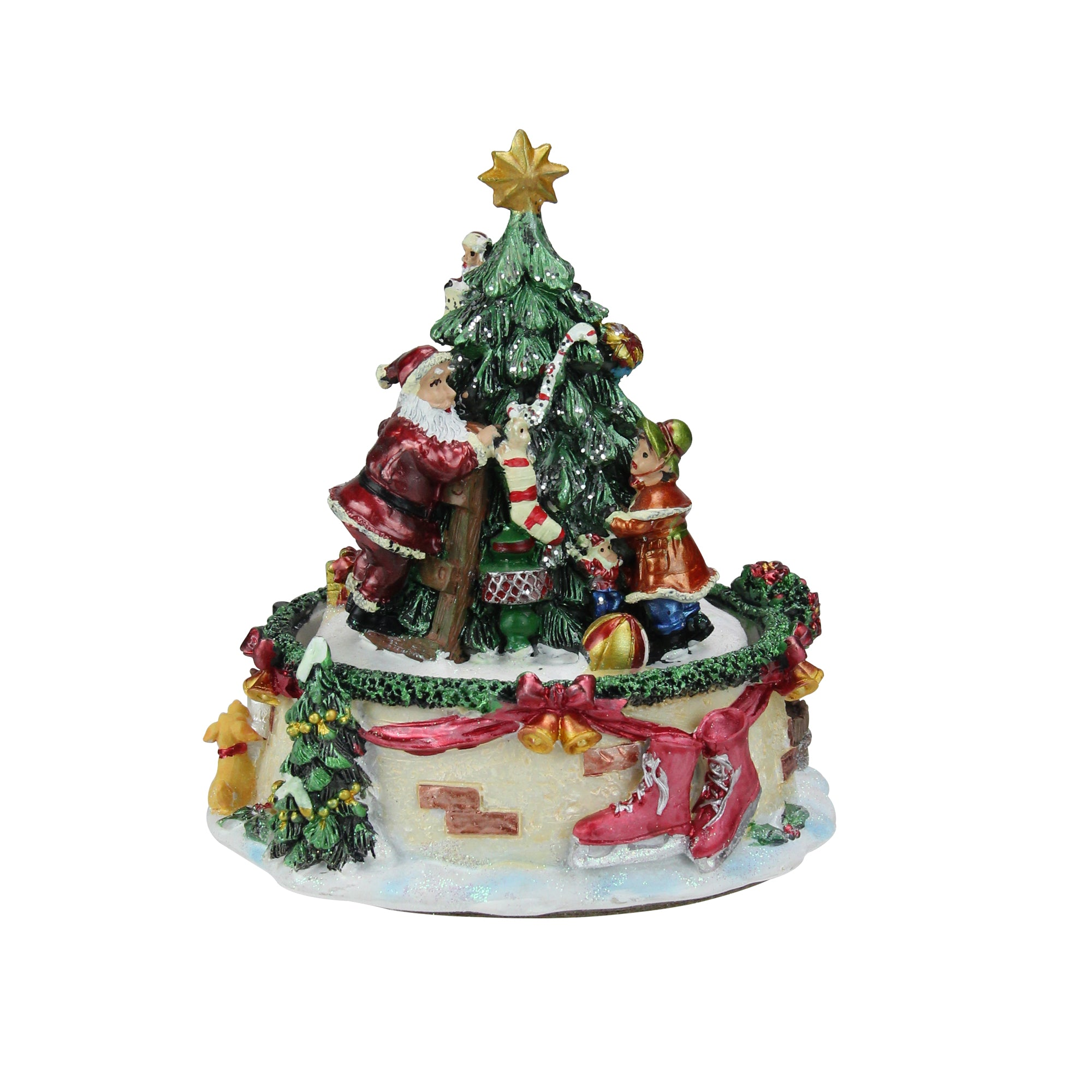 6 animated santa claus and christmas tree winter scene rotating music box