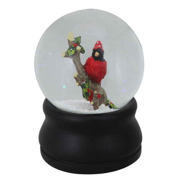 "5.75"" Red Cardinal on Branch with Holly and Berries Musical Christmas Snow Globe"