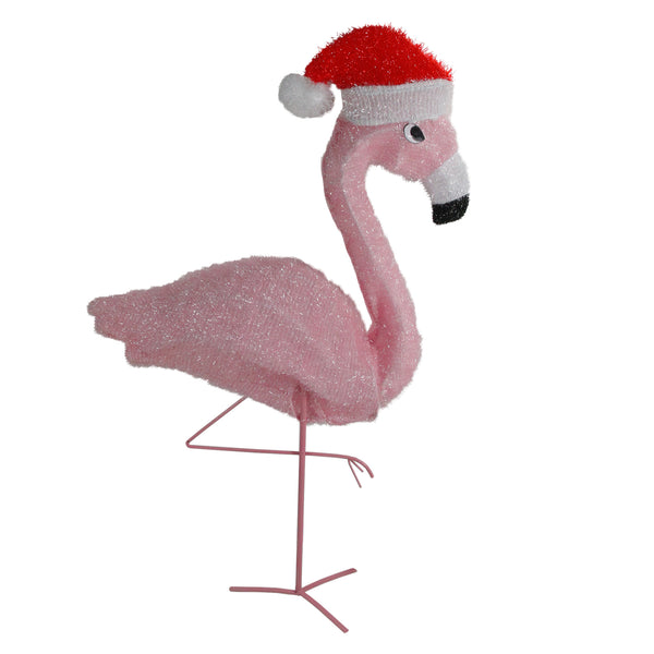 "32"" Pre-Lit Pink Flamingo with Santa Claus Hat Christmas Outdoor Decoration"