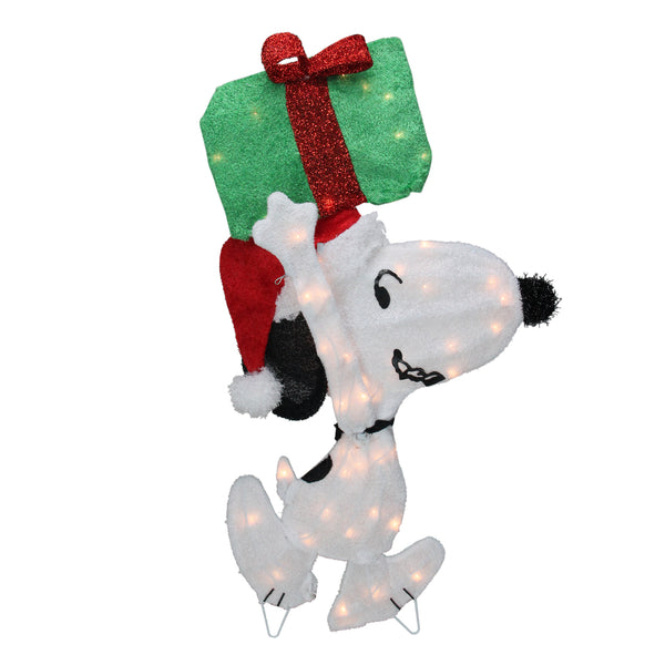 "32"" Pre-Lit Peanuts Snoopy with a Present Christmas Outdoor Decor"