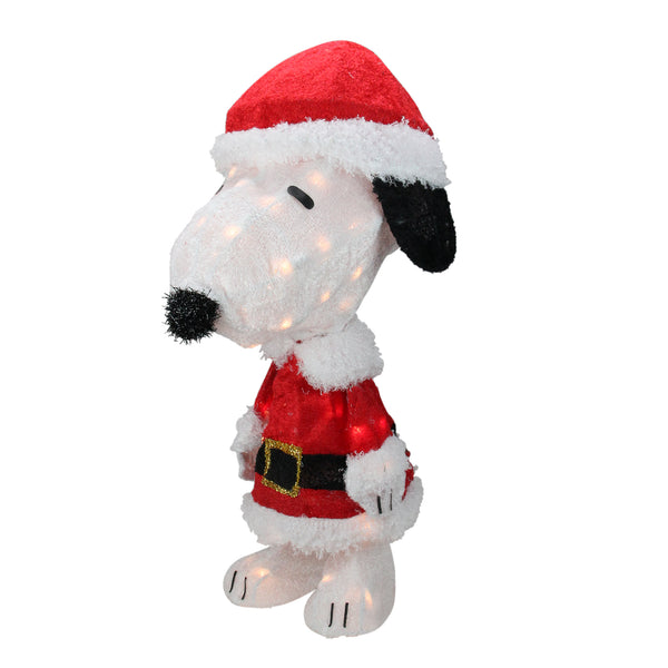 "24"" Pre-Lit Peanuts Snoopy in Santa Suit Christmas Outdoor Decor - Clear Lights"