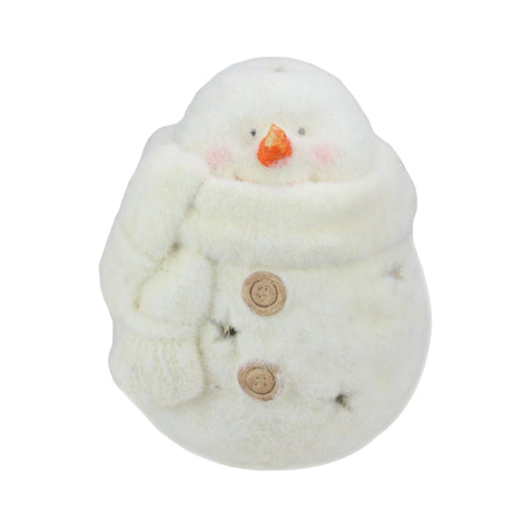 "10.75"" White Tealight Snowman With Star Cut-Outs Christmas Candle Holder"