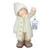 "17.25"" Winter Girl in White Holding a Tealight Lantern Christmas Tabletop Figurine"