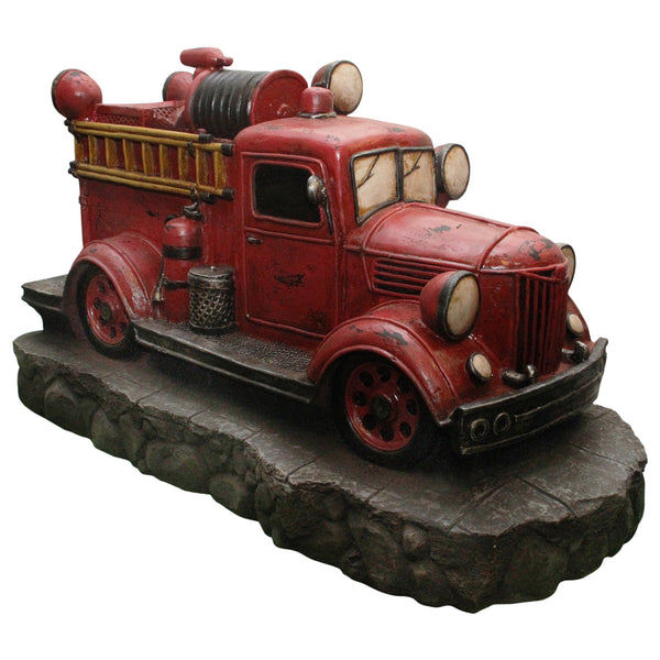 "38"" Lighted Red and Black Vintage Fire Truck Outdoor Patio Fountain"