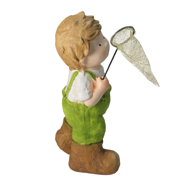 "18.25"" Green and White Young Boy Gnome with Butterfly Net Spring Outdoor Garden Figure"