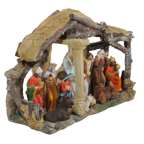 "18"" Traditional Religious Christmas Nativity with Stable House Decoration"