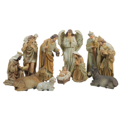 11-Piece Traditional Earth Tones Religious Christmas Nativity Figurine Set 12""